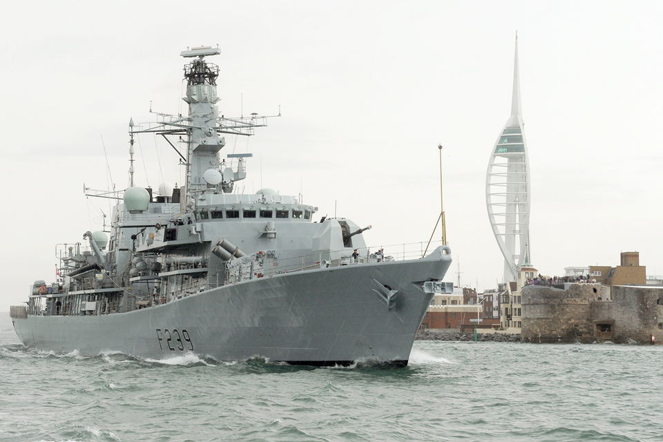 HMS Richmond sails from Portsmouth on 5 August 2013