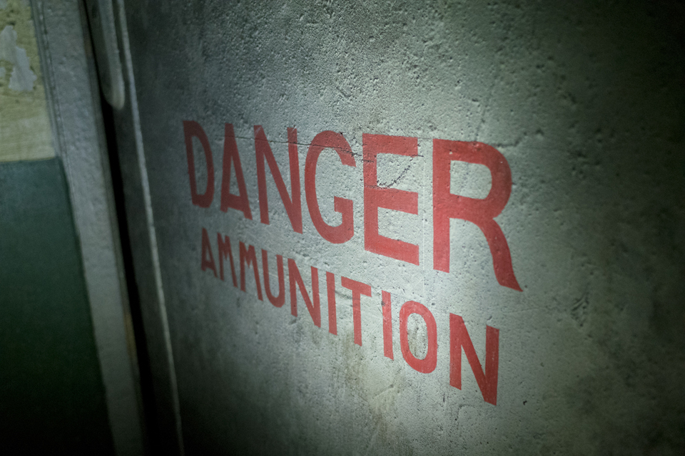"The sign on a doorway: ""Danger Ammunition"""