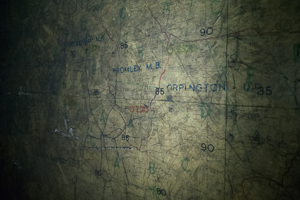 Close-up of the wartime anti-aircraft operations map