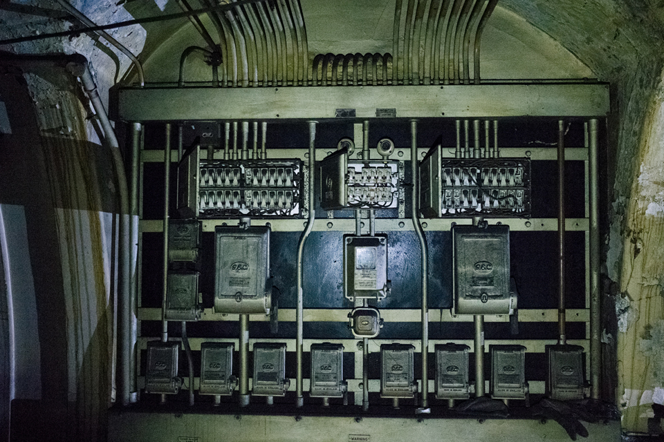 Old electrical switches inside the disused tube station