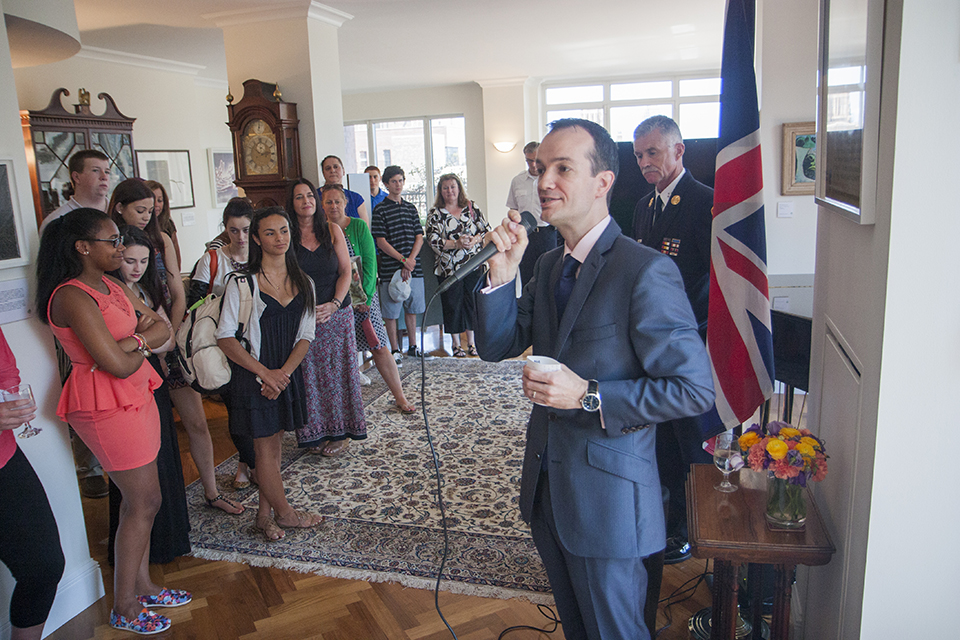 Consul General Danny Lopez addresses the guests at the tea.