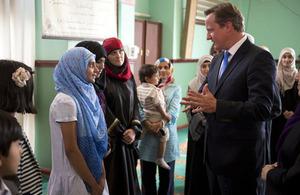 David Cameron visits North Manchester Jamia Mosque ahead of Eid 2013