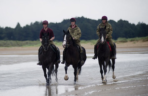 Horses of the Household Cavalry Mounted Regiment on Holkham beach on the North Norfolk coast