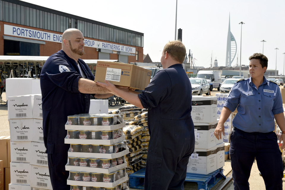 Logisticians load HMS Westminste