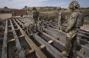 Sappers from 21 Engineer Regiment during construction of the 'Golden Egg' bridge in Nahr-e Saraj