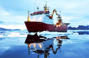 Winner of the Peregrine Trophy: HMS Protector off James Ross Island in Antarctica