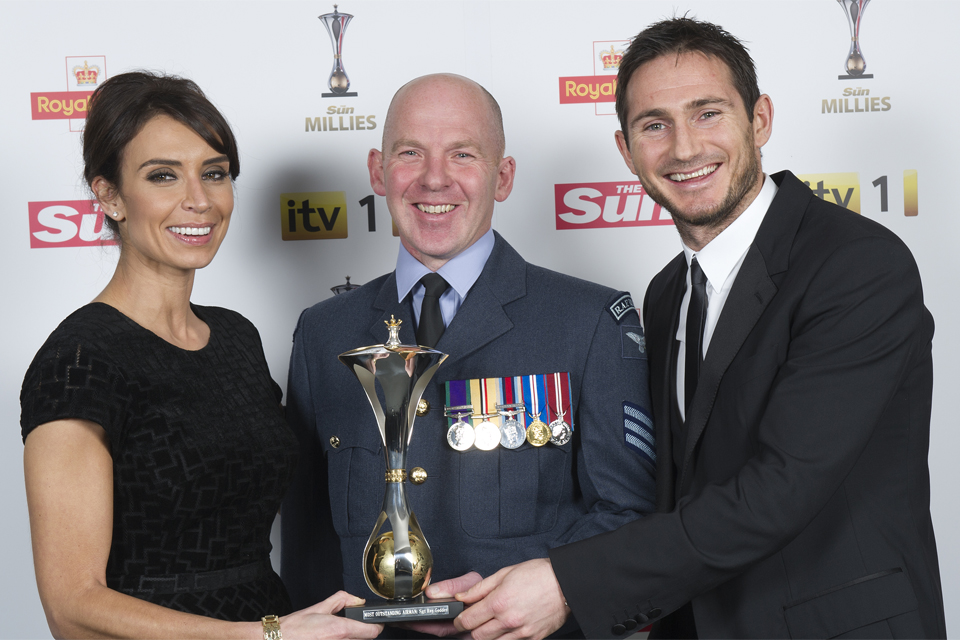 From left: Christine Bleakley, Sergeant Roy Geddes and Frank Lampard (library image)