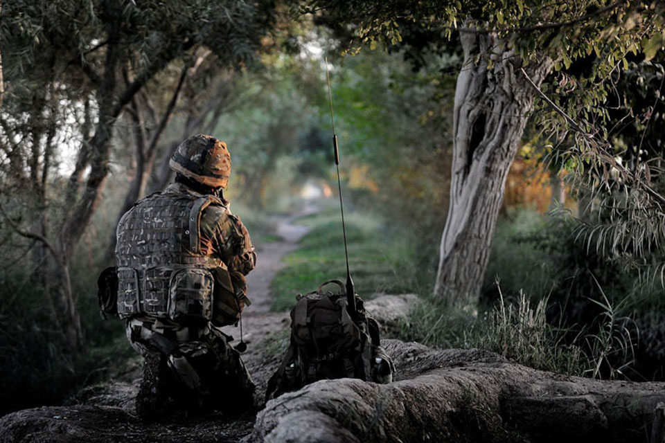 Winner of the Commandant General Royal Marines' Prize: A Royal Marine from W Company, 45 Commando, on his radio while out on patrol