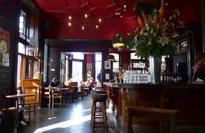 Interior of a British pub