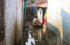 Crowded conditions in Bihari camp, Bangladesh