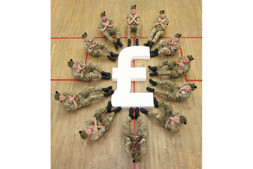 Soldiers from the Royal Regiment of Scotland promoting the MoneyForce training programme