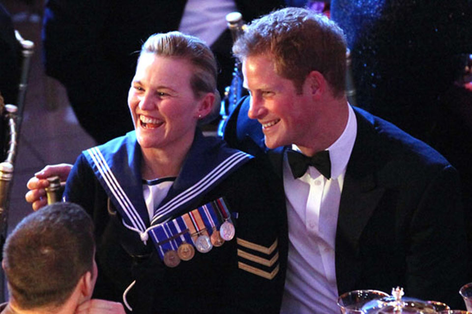 Best Reservist award winner, Air Engineering Technician Michelle Ping, shares a joke with Prince Harry at last year's awards ceremony