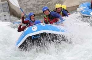 Brandon Lewis on the white water rafting course.