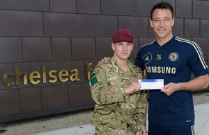 Chelsea Football Club captain John Terry and Private Tom Harding