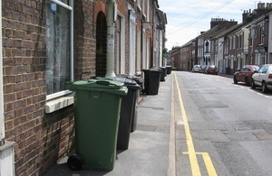 Street with wheelie bins