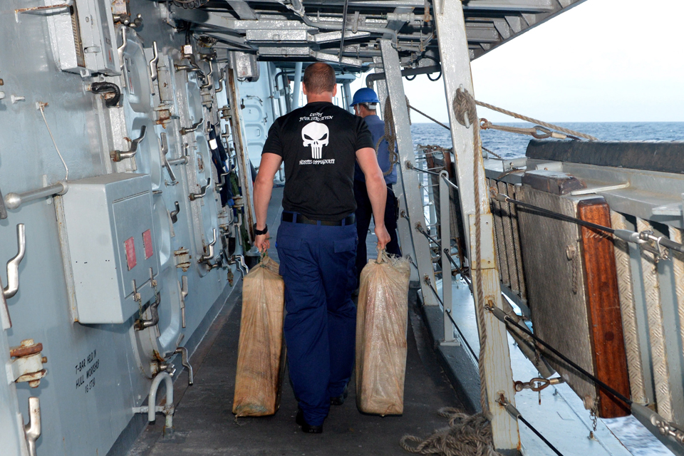 Sailors on board HMS Lancaster carry away part of a major drugs haul [Picture: Leading Airman (Photographer) Jay Allen, Crown copyright]