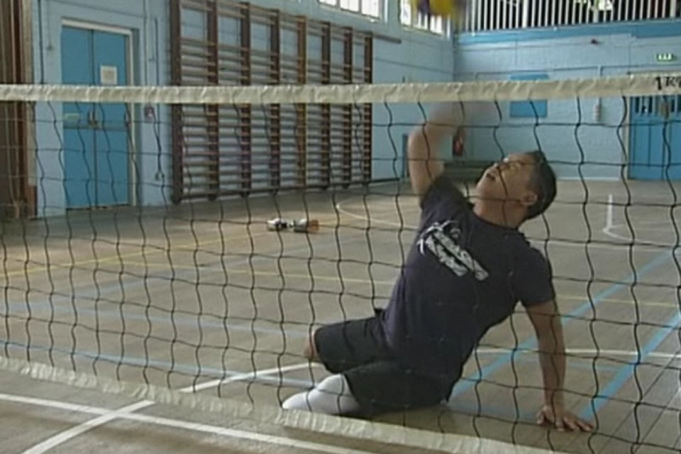 Lance Corporal Netra Rana competes in the men's sitting volleyball team for London 2012