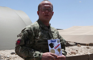 Corporal Wayne Tudor with a Father's Day card