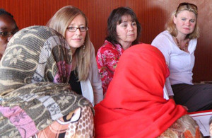 Justine Greening pictured meeting with Syrian refugee women and aid workers in Lebanon. Photo: British Embassy Beirut