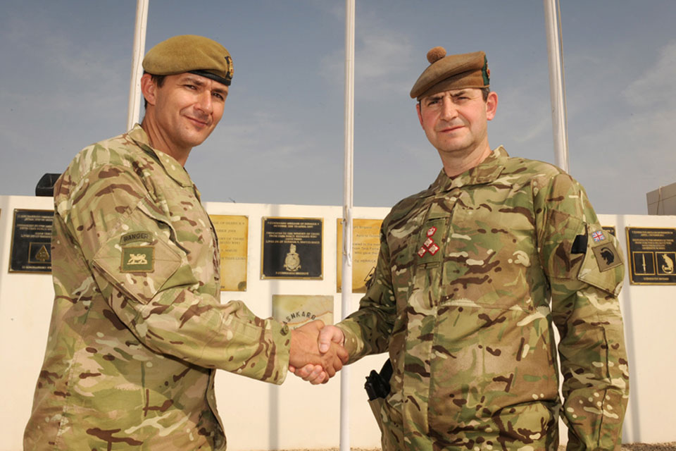 Brigadier Doug Chalmers (left), Commander of 12th Mechanized Brigade, and Brigadier Bob Bruce of 4th Mechanized Brigade
