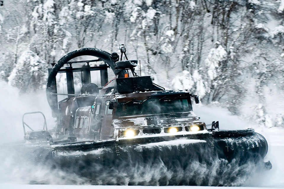 An LCAC (Landing Craft Air Cushion) of 539 Assault Squadron Royal Marines during cold weather training in Norway