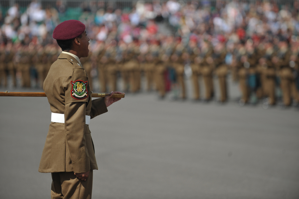 A company commander forms up the parade