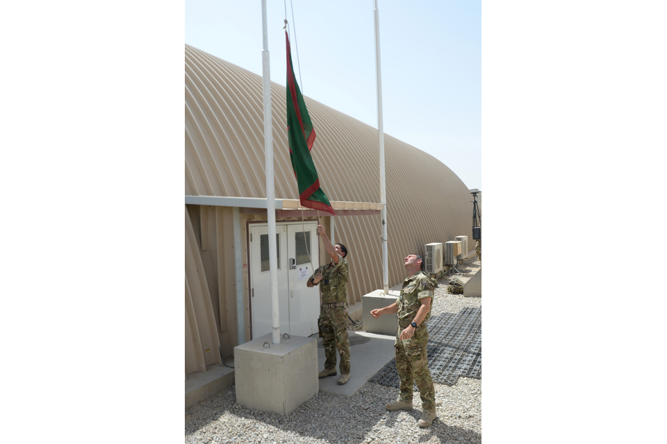 1st Mechanized Brigade flag being raised