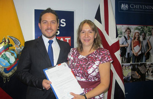 Hugo García Chevening Scholar and Tina Hamilton