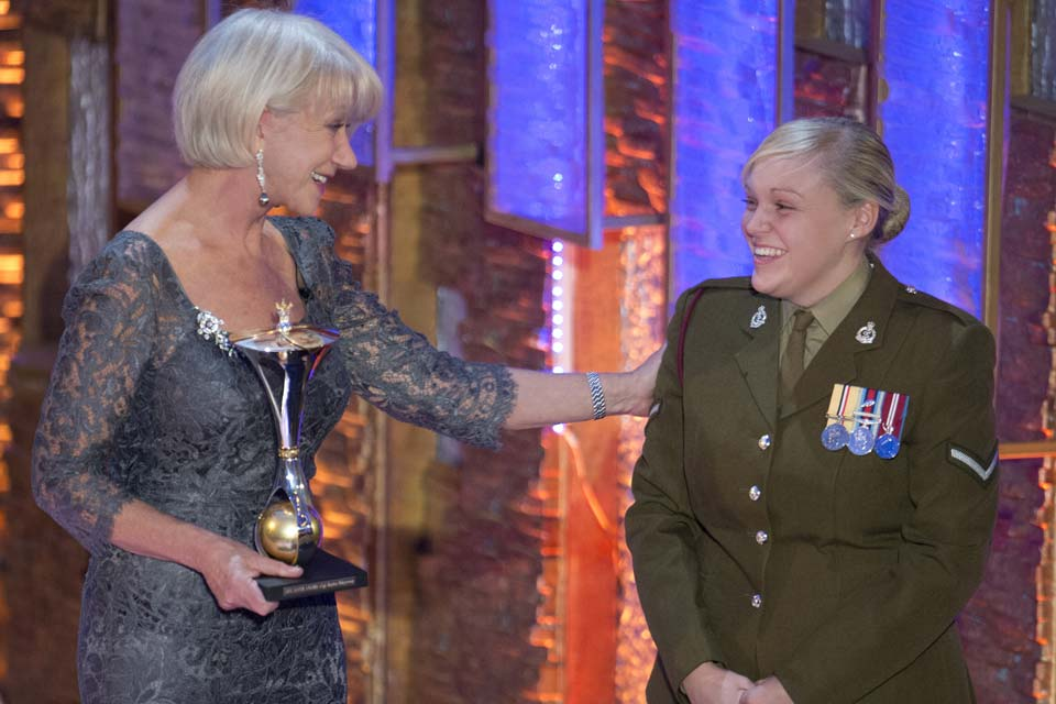 Helen Mirren and Lance Corporal Hayley Ridgeway