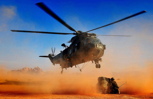 A Royal Navy commando helicopter crew is put through its paces in the Jordanian desert [Picture: Petty Officer (Photographer) Mez Merrill, Crown copyright]