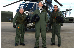 Left to right: Chief Petty Officer Aircrewman Andy Vanes, His Royal Highness Prince Michael of Kent and Lieutenant Commander Ric Fox
