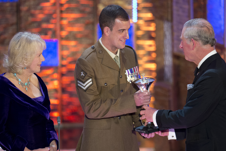 Corporal Sean Jones receiving the Most Outstanding Soldier Award in 2012