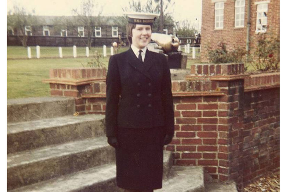 Susan Morgan after her passing out parade at HMS Dauntless
