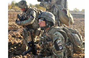 Soldiers from 5th Battalion The Rifles out on a foot patrol in the southern part of Nahr-e Saraj district during Op HERRICK 15