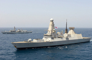 HMS Dragon (foreground) with HMS Monmouth in the background [Picture: Leading Airman (Photographer) Dave Jenkins, Crown copyright]