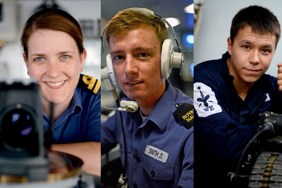 From left: Lieutenant Helen Oliphant, Able Seaman Daniel Smith and Engineering Technician Andrew Coyle
