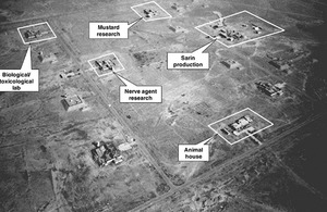 Aerial view of the Al Muthanna Chemical Weapons Complex after Operation Desert Storm