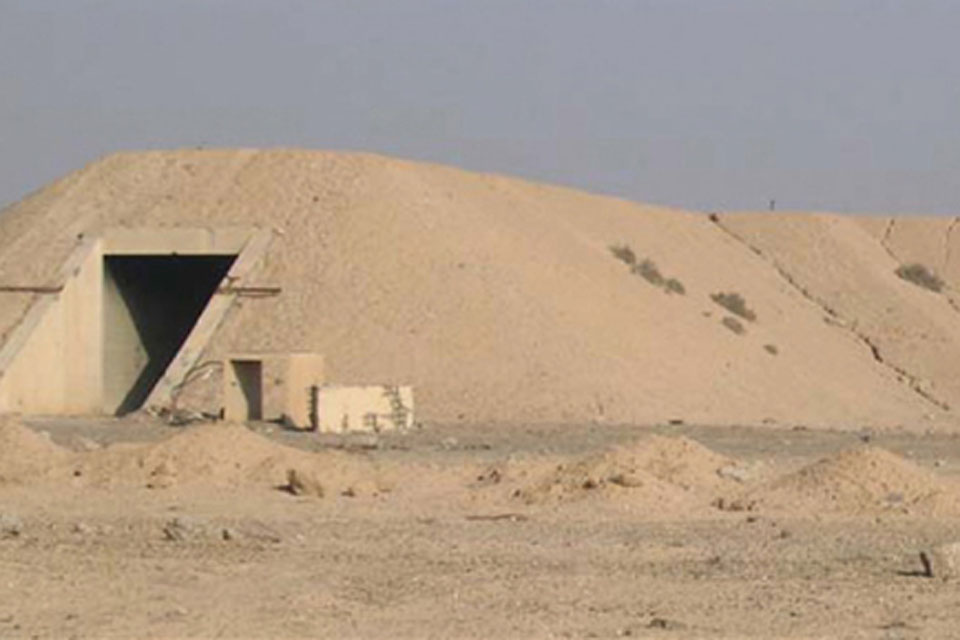 Side view of one of the cruciform bunkers at Al Muthanna
