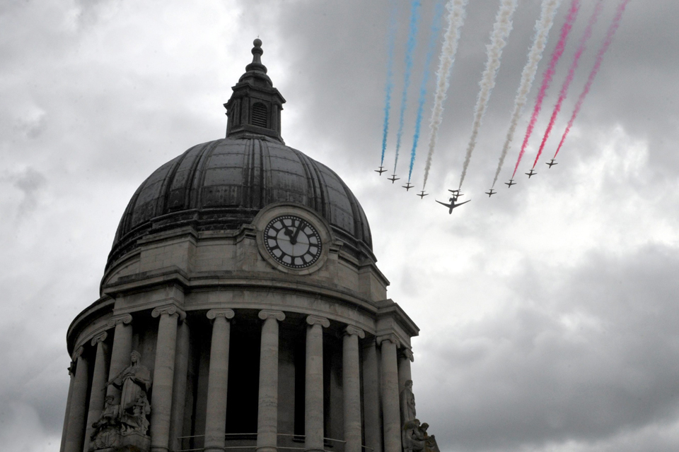 The Red Arrows fly over Nottingham