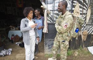 Captain Cyrus Karumba engaging with local Kenyans during Exercise Civil Bridge 12