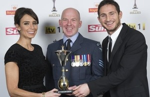 From left: TV presenter Christine Bleakley, Sergeant Roy Geddes and footballer Frank Lampard [Picture: Arthur Edwards, Copyright The Sun]