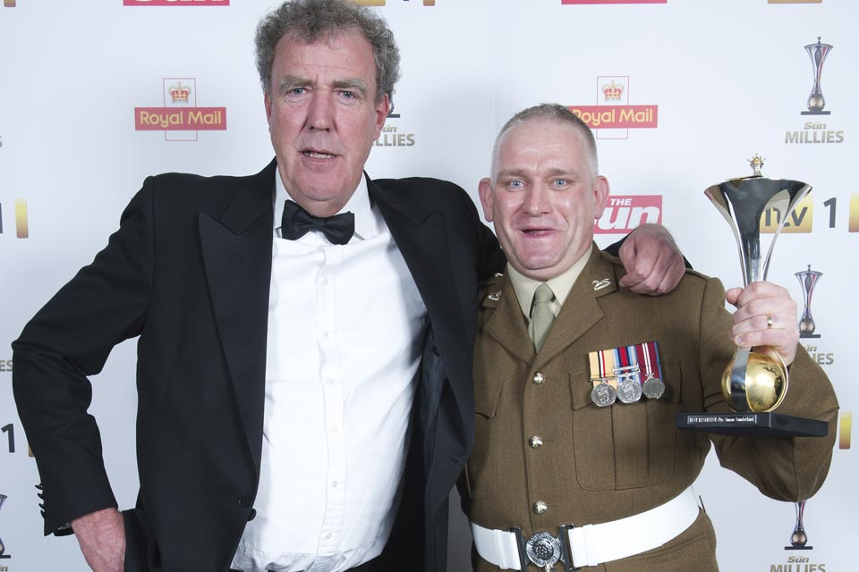 TV presenter Jeremy Clarkson and Private Simon Sunderland