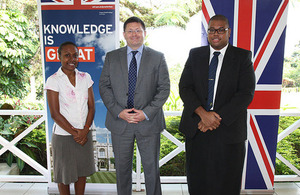 His Excellency Roderick Drummond with 2013-14 Chevening scholars, Janice Mose of the Solomon Islands and Poasa Werekoro of Fiji