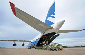 An Antonov heavy-lift transport aircraft is loaded with equipment for Exercise Shaheen Star