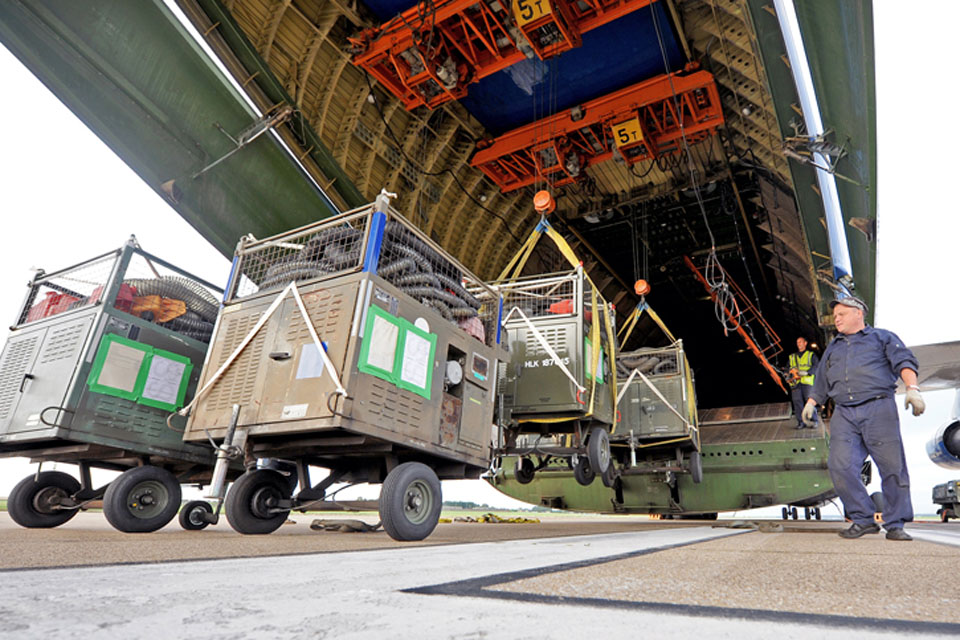 An Antonov heavy-lift transport aircraft is loaded with equipment