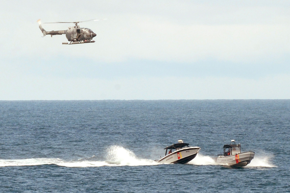 Colombian helicopter and fast boat assets