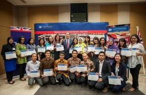 British Ambassador Mark Canning with Indonesian Chevening Scholars 2013/14