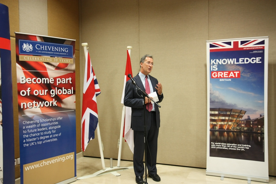 British Ambassador Mark Canning presented the awards to the new Chevening scholars