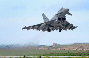 RAF Typhoon aircraft taking off [Picture: Corporal Babs Robinson, Crown copyright]