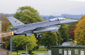 An F-16 taking off from RAF Leeming